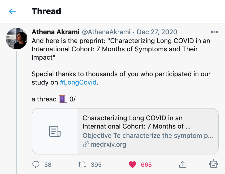Read Athena's thread Patient Led Research Covid 19